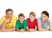 Great family in bright T-shirts — Stock Photo