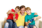 Fun family in bright T-shirts — Stock Photo