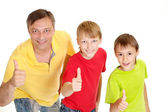 Cool family in bright T-shirts — Stock Photo