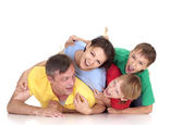 Superb family in bright T-shirts — Stock Photo