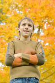 Boy on a walk during the fall — Stock Photo