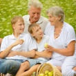 Older man and woman with their grandchildren — Stock Photo