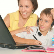 Mother and son studying together — Stock Photo