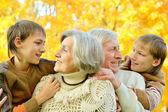 Elderly couple and grandchildren — Stock Photo