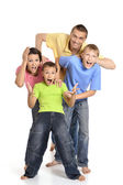 Cheerful family of four — Stok fotoğraf