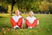 Aged couple doing yoga — Stock Photo