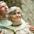 Beautiful elderly couple at wall — Stock Photo