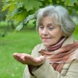 Old woman at nature — Stock Photo