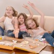Girls watching television — Stock Photo