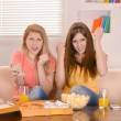 Girls eating pizza  — Stock Photo