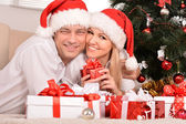 Couple celebrating New Year at home — Foto Stock