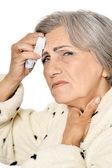 Sick elderly woman — Stock Photo