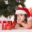 Little girl celebrating Christmas — Stok fotoğraf