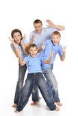 Família em camisas azuis — Foto Stock