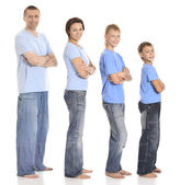 Family in blue shirts — Stock Photo