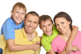 Cute family isolated on white background — Stock Photo