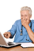 Doctor with a laptop — Stock Photo