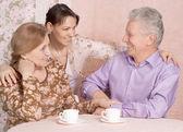 Happy Caucasian family of three — Stock Photo