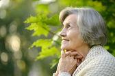 Senior woman on a walk — Stock Photo
