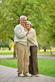 Elderly couple in park — Stock Photo