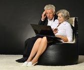 Elderly couple using laptop — Stok fotoğraf