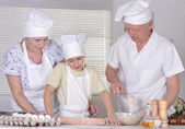 Family cooking together — Stock Photo