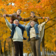Happy senior couple in autumn park with grandchildrens — Stock Photo #38483493
