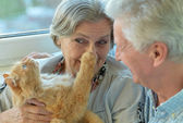 Older couple with cat — Stock Photo