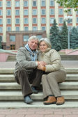 Mature couple in the city — Stock Photo
