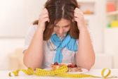 Depressed dieting woman — Zdjęcie stockowe
