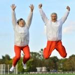 Senior couple exercising in park — Stock Photo #39656335