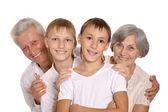 Prarodiče s vnoučat — Stock fotografie