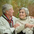 Happy mature couple walking in the park — Stock Photo