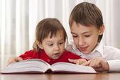 Garçon intelligent apprend des leçons à la maison — Photo