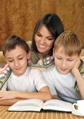 Mother with two adorable brothers — Stock Photo