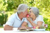 Elderly couple in summer — Stock Photo