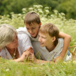 Happy family having a picnic on a sunny summer day — Stock Photo #41710099