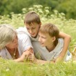 Happy family having a picnic on a sunny summer day — Stock Photo #41710273