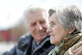 Old couple on a walk — Stock Photo