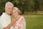 Sympothetic elderly people went to the nature  — Stock Photo