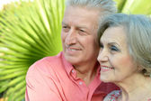 Glad old  people at the resort — Stock Photo