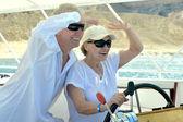 Senior couple having boat ride — Stock Photo