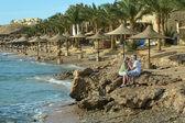 Couple de personnes âgées amusantes sur une plage — Photo
