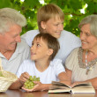 Grandparents with grandchildren reading book — Stock Photo