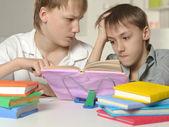 Due fratelli a fare i compiti — Foto Stock