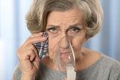 Kobieta co drogi oddechowe — Zdjęcie stockowe