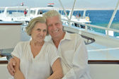 Senior couple having boat ride — Foto de Stock