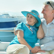 Senior couple having boat ride — Stock Photo #44702727