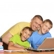 Boys doing homework with father — Stock Photo #44703001
