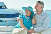 Senior couple having boat ride — Stock Photo